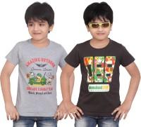 Dongli Printed Boys Round Neck Grey Brown T-Shirt