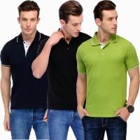 Scott International Solid Men's Polo Neck Dark Blue, Green, Black T-Shirt(Pack of 3)