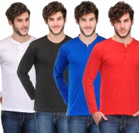 TSX Solid Men's Henley Multicolor T-Shirt(Pack of 4)