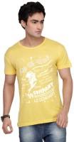 Inkovy Graphic Print Mens Round Neck Yellow T-Shirt