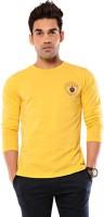 Ebry Solid Mens Round Neck Yellow T-Shirt