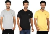 SayItLoud Solid Men's V-neck Multicolor T-Shirt(Pack of 3)