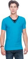 Mufti Solid Men V-neck Blue T-Shirt