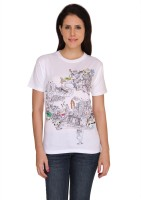 Idiot Theory Graphic Print Women's Round Neck White T-Shirt
