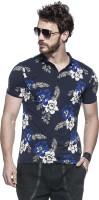 Tinted Floral Print Mens Henley Dark Blue T-Shirt