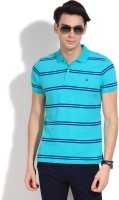 United Colors of Benetton Striped Mens Polo Neck Blue, Green T-Shirt