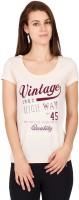 Alibi Printed Womens Round Neck Beige T-Shirt