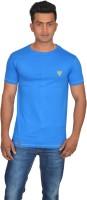 DoubleF Solid Men's Round Neck Blue T-Shirt