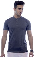 Urban Flux Solid Men Henley Grey T-Shirt