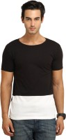 Fio Solid Men's Round Neck Black, White T-Shirt