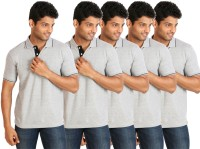 Campus Sutra Solid Men Polo Neck Grey T-Shirt(Pack of 5)