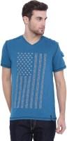 Arise Printed Men's V-neck Blue T-Shirt