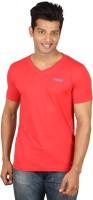 Poshuis Solid Men V-neck Red T-Shirt