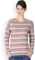 Hypernation Striped Women's Round Neck Red, Grey T-Shirt