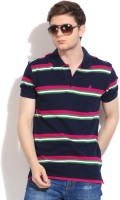 John Players Striped Mens Polo Neck Dark Blue T-Shirt