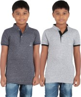 KNIT ABC Garments Boys Solid Cotton T Shirt(Grey, Pack of 2)