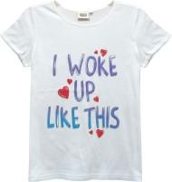 Abstract Mood Girls Printed T Shirt(White)