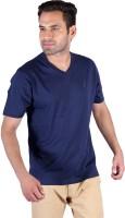 Humbert Solid Mens V-neck Dark Blue T-Shirt