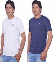 Leaf Solid Men's Round Neck White, Blue T-Shirt(Pack of 2)