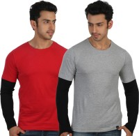 Rigo Solid Men's Round Neck Red, Grey T-Shirt(Pack of 2)