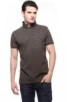 Fasnoya Printed Mens Polo Neck Brown T-Shirt
