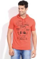 People Printed Men's Hooded Red T-Shirt