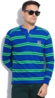 Mufti Striped Men's Henley Blue, Green T-Shirt