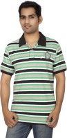Red Line Striped Men Polo Neck Multicolor T-Shirt