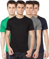 TOMO Solid Mens Round Neck Black, Grey, Green, Dark Blue T-Shirt(Pack of 4)