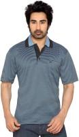 Thinc Striped Mens Polo Neck Blue, Black T-Shirt