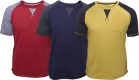Poshuis Solid Men's Round Neck Red, Blue, Yellow T-Shirt(Pack of 3)