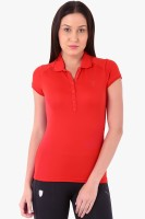 Puma Solid Womens Polo Neck Red T-Shirt