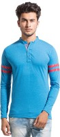 Alan Jones Solid Men Henley Blue T-Shirt