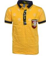 Crux & Hunter Boys Printed Cotton T Shirt(Yellow, Pack of 1)