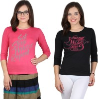 SayItLoud Printed Women's Round Neck Pink, Black T-Shirt(Pack of 2)
