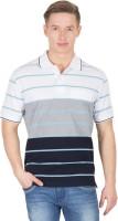Wilkins & Tuscany Striped Men's Polo Neck White T-Shirt