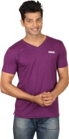Poshuis Solid Men V-neck Purple T-Shirt