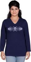Tantra Graphic Print Womens V-neck Dark Blue T-Shirt
