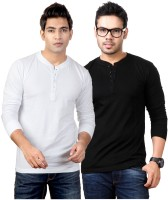 Top Notch Solid Mens Henley White, Black T-Shirt(Pack of 2)