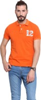 Camino Solid Mens Polo Neck Orange T-Shirt