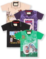 Tonyboy Boys Printed Cotton T Shirt(Multicolor, Pack of 5)