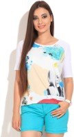 United Colors of Benetton. Printed Women's Round Neck White T-Shirt