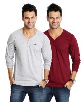 Rodid Solid Men's V-neck Grey, Maroon T-Shirt(Pack of 2)