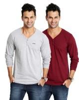 Rodid Solid Mens V-neck Grey, Maroon T-Shirt(Pack of 2)