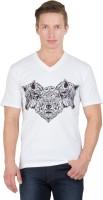 Hypernation Printed Men's V-neck White, Black T-Shirt