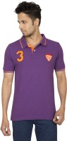 Red Line Solid Men Polo Neck Purple T-Shirt