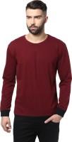 Unisopent Designs Solid Men's Round Neck Maroon, Black T-Shirt