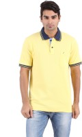 Furore Solid Men's Polo Neck Yellow T-Shirt