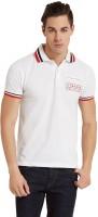 Elaborado Solid Mens Polo Neck White T-Shirt