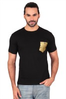 Anger Beast Solid Mens Round Neck Black T-Shirt